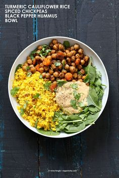 Turmeric Cauliflower Rice, Spiced Chickpeas or lentils, Black pepper hummus and Greens bowl. Amazing Flavors for any meal. Ready within 25 minutes.   Vegan, dairy free, gluten free, and vegetarian.   Click for healthy recipe.   Via Vegan Richa