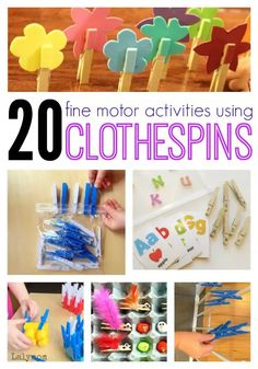 20 Fine Motor Skills Activities for Kids Using Clothespins. Lots of fun fine motor ideas! Fine Motor Activities For Kids, Quiet Time Activities, Motor Skills Activities, Gross Motor Skills, Sensory Activities, Learning Activities, Preschool Activities, Kids Learning, Preschool Kindergarten