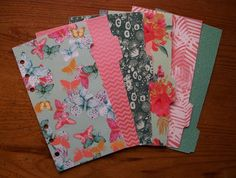 PERSONAL Size Laminated DIVIDERS - 'Flowers & Butterflies' #784 - Fits Filofax  #HandmadebyMei #turquoise #teal
