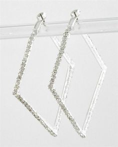 SQUARE CRYSTAL  EARRING SET