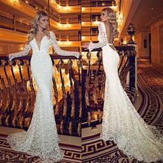 Wholesale Sheath Wedding Dresses - Buy Dimitrius Dalia 2014 Newest Style Sexy Lace Wedding Dresses Deep V Neck Open Back Long Sleeves Backless Ribbon Court Train Bridal Gowns 2015, $137.67 | DHgate.com