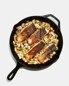How to Pan Sear Salmon Perfectly, Because You're Worth It | Bon Appétit Napa Cabbage Recipes, Cooking Tv, Cooking Fish, Easy Cooking, Cooked Cabbage, Pan Seared Salmon, How To Cook Fish, Cooking Salmon, Kitchens