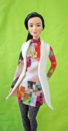 Layerables Tunic leggings cardigan tights Clothes PDF Sewing Pattern for Medium Dolls: Barbie, Princess, Fashion Royalty, Petite, Tall Diy Barbie Clothes, Doll Clothes, Pdf Sewing Patterns, Clothes Patterns, Dress Patterns, Tunic Leggings, Beautiful Barbie Dolls, Patterned Tights, Barbie World