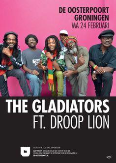 The Gladiators zijn al sinds 1967 aanwezig in de reggea-arena en zijn verantwoordelijk voor klassiekers als 'Hello Carol', 'Roots Natty' en 'Bongo Red'. Ze hebben altijd volop getourd en bewezen een van de eerste echte Roots reggae bands te zijn. Niet voor niets is de band een samenwerking aangegaan met de jonge, ultra getalenteerde Droop Lion. Droop Lion brak door met de hit 'Freeway', waarmee hij een revolutie teweeg bracht binnen de reggae..