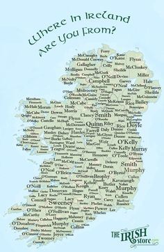 Where in Ireland are you from? Trace your Irish roots and heritage and find out where your Irish surname originated or is most dominant in Ireland on the map below. Genealogy Sites, Family Genealogy, Genealogy Forms, Ireland Map, Irish Quotes, Irish Blessing, Irish Eyes, Thinking Day, Belle Photo