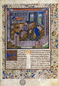 In this illustration, you can see two scribes at work transcribing texts. Both of them have their source material on their desks near the new quires they're writing on. One of them may be Jacques de Guyse, who worked on this manuscript. It is the Chroniques de Hainault. Flanders, 1450-1475.  BnF, Manuscrits, français 20128 f. 1  © Bibliothèque nationale de France