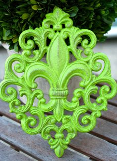 Shabby Chic  Green Fleur Wall Plaque by oxfordstreetgifts on Etsy, $18.00