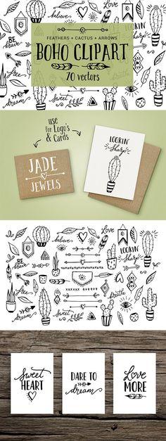 Boho, cactus, feather, arrow clipart by Skyla Design on @creativemarket