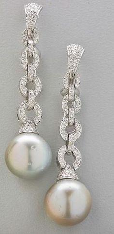 Earrings; 18K Gold, South Sea Pearl, Diamond Pave Chain, Oval Links, Omega Back.