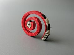 Anne Finlay - Red Swirl Brooch- Corrugated Cardboard-The Scottish Gallery