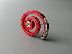 Anne Finlay - Red Swirl Brooch- Corrugated Cardboard-The Scottish Gallery