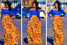 African Print Skirt & Royal Blue Crop Top