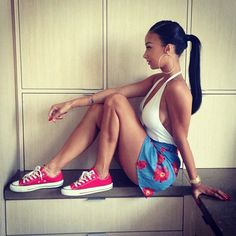 Draya Michele. This outfit and hairstyle is adorable!
