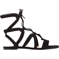 Gianvito Rossi Ferah Gladiator Sandals ($835) ❤ liked on Polyvore featuring shoes, sandals, flats, flat sandals, sapatos, black, black lace up sandals, flat pumps, suede gladiator sandals and black flat shoes