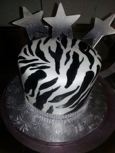 Calumet Bakery  Hand painted Zebra print on white fondant with Stars