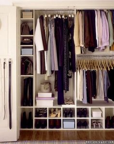Martha Stewart closet. I like the cubbies and the tall space for boots.