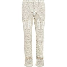 Roberto Cavalli Printed low-rise boyfriend jeans (10 075 UAH) ❤ liked on Polyvore featuring jeans, pants, white, boyfriend fit jeans, white jeans, roberto cavalli jeans, 5 pocket jeans and roberto cavalli