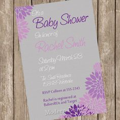 Neutral Baby Shower Invitation Purple and Grey Flower Printable Personalized