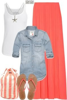 Style for summer: white tank with necklace, denim over shirt, orange maxi, striped tote and sandals