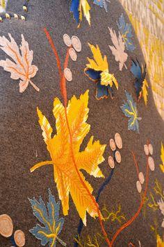 Pippa Caley appliqué leaves Textile Design, Applique, Textiles, Kit, London, Pattern, Handmade, Painting, Inspiration