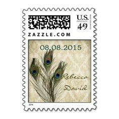 vintage damask peacock wedding save the date stamps. This is customizable to put a personal touch on your mail. Add your photos or text to design your own stamp that can be sent through standard U.S. Mail. Just click the image to try it out!