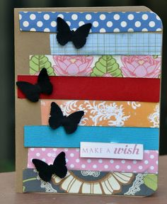 Easy card made with strips of paper and a butterfly punch.