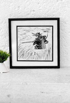 Final Fantasy inspired Minimalist Mexican rustic art print || Linoleoum Etching