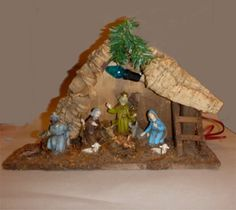 Vintage Wooden Nativity Creche with Cork Roof, Holy Family Made in Italy