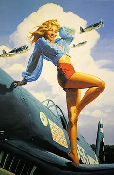 HOT SEXY Vintage Airplane Pin up Girl 24 X 36 Poster By Greg Hildebrandt