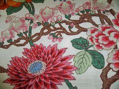 Lee Jofa Kravet Jacobean Linen Fabric 10 Yards Cream Green Rose Blue Multi   eBay