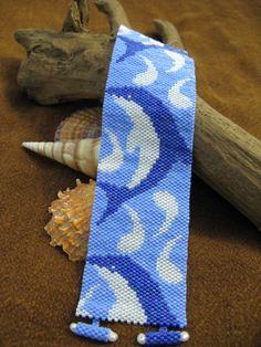 Dolphin Swim cuff - design by Debbie VanTonder, beadwork by me