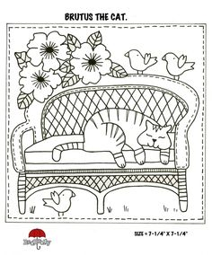 "♥ FREE Red Brolly Cat Stitchery pattern: Catalicious Block Of the Month Quilt. ""Brutus in the Garden"" Block. Hand Embroidery Patterns, Applique Patterns, Embroidery Applique, Cross Stitch Embroidery, Embroidery Designs, Quilt Patterns, Red Brolly, Cat Coloring Page, Brollies"