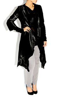 Bastyan adds its own stamp to the classic evening fur coat, carrying through this stylish and luxurious Ponyskin style into their SS offering. Soft draping, raw edge detailing and Italian rib knit sleeves keep this coat modern yet sophisticated. Wear with a bold print midi dress, with black cut-out heels to a glamourous dinner date or subtly dressed down for a weekend girlie lunch. Team Bastyan saysmake the Helois Ponyskin Coat your trans-seasonal Investment Piece this SS12.