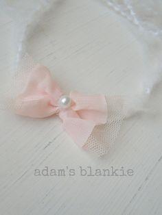 Open Halo Headband Wrap Tie Back - Pink Bow Pearl - Chiffon Tulle