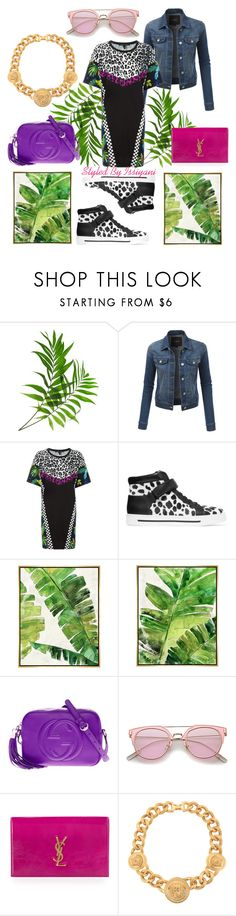 """Printed Patchwork Dress"" by styledbyissiyani ❤ liked on Polyvore featuring LE3NO, Marc Jacobs, Marc by Marc Jacobs, Barclay Butera, Gucci, Yves Saint Laurent, Versace, YSL, marcjacobs and marc"