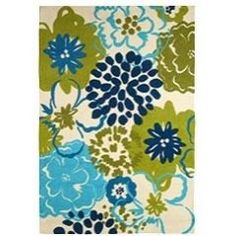 This great rug from Pier 1 embodies one of my favorite color palettes: turquoise, teal and muted lime on white.