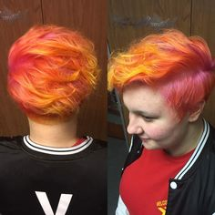 Sunset Pixie Cut. Used Arctic Fox Hair color: virgin pink, sunset orange, cosmic sunshine
