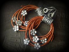 Rustic CowGirl South West Lasso Flowers Leather Hoop by YuccaBloom