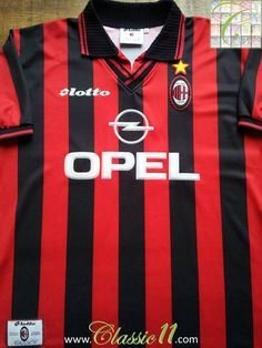 Relive AC Milan's 1997/1998 season with this vintage Lotto home football shirt.