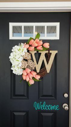 Spring Wreath, Tulip Wreath, Monogram Wreath, Hydrangea Wreath, Summer Wreath, Easter Wreath, Front Door Wreath, Door Decor, Peachy Pink by SimplySundayShop on Etsy https://www.etsy.com/listing/223146214/spring-wreath-tulip-wreath-monogram