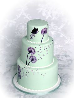 Dandelion Wishes Bridal Shower Cake - Made this bridal shower cake to match the wedding invitations.