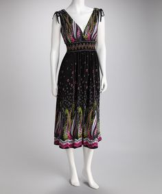 Take a look at this Black & Pink Floral Surplice Maxi Dress by Pop of Color: Dresses & Tops on #zulily today!