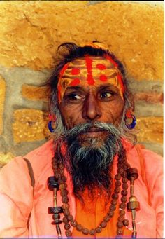 sadhu ( holy man), rajasthan, india, 1-04. color block style for spring !