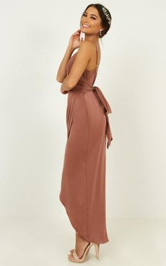 How Will I Know Dress In Dusty Rose | Showpo Mimi Perkins, Silk Bridesmaid Dresses, Matte Satin, Love Hair, Hair Piece, Dusty Rose, The Dreamers, Wrap Dress, Cold Shoulder Dress
