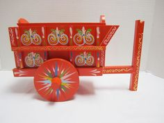Vintage Red Peddler's Wagon Folk Art Donkey Cart Carnival Circus Wood Bright #Mexican