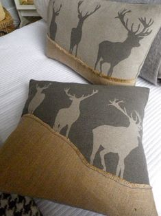 "love this pillow for all of my ""hunting"" widow friends! Thinking about stenciling the deer on solid fabric..."