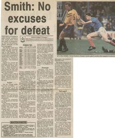 Oxford Utd 2 Portsmouth 1 in March 1992 at the Manor Ground. Newspaper report on the Division 2 clash.