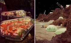 Oddly, this style makes me think of Classic Traveller. moon colony (by Chesley Bonestell), retro-futuristic, mars colony, science fiction