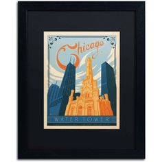 Trademark Fine Art Chic Water Tower by Anderson Design Group, Black Matte, Black Frame, Archival Paper, Size: 11 x 14
