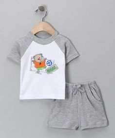 Love this Gray 'Goal' Raglan Tee & Shorts - Infant by Sweet & Soft on #zulily! #zulilyfinds